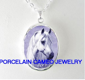 WHITE STALLION HORSE* PORCELAIN CAMEO SMALL LOCKET NECKLACE