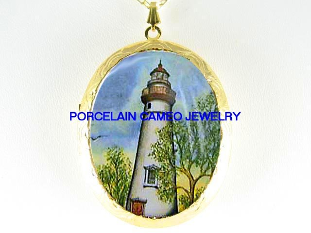 LIGHTHOUSE AROUND THE TREE *  CAMEO PORCELAIN LOCKET NECKLACE
