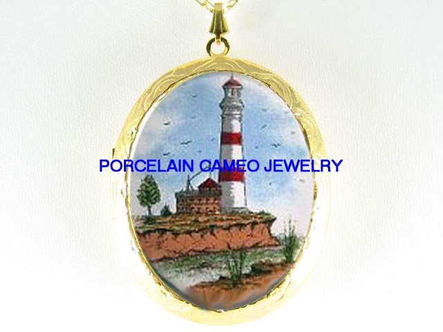 LIGHTHOUSE ON THE CLIFF*  CAMEO PORCELAIN LOCKET NECKLACE