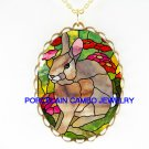 RABBIT BUNNY WITH PINK FLOWER PORCELAIN CAMEO NECKLACE