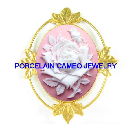 VICTORIAN PINK WHITE OPEN ROSE VINTAGE CAMEO PIN BROOCH