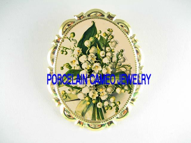 LILY OF THE VALLEY FLOWER POCELAIN CAMEO PIN BROOCH