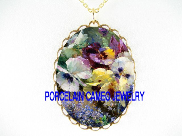 PANSY WITH FORGET ME NOT * CAMEO PORCELAIN NECKLACE