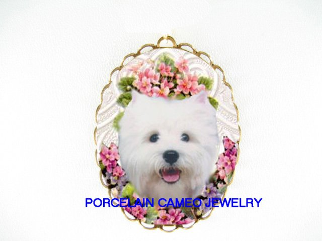 SMILING WESTIE TERRIER DOG WITH PINK AFRICAN VIOLET *  CAMEO PORCELAIN PENDANT/PIN BROOCH