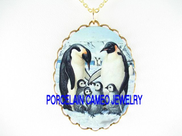 HAPPY PENGUIN PENGUINS FAMILY CAMEO PORCELAIN NECKLACE