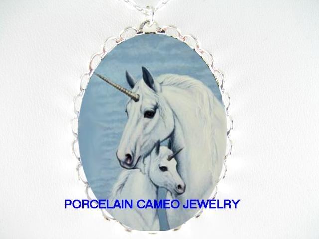 UNICORN HORSE MOM CUDDLE BABY PORCELAIN CAMEO NECKLACE