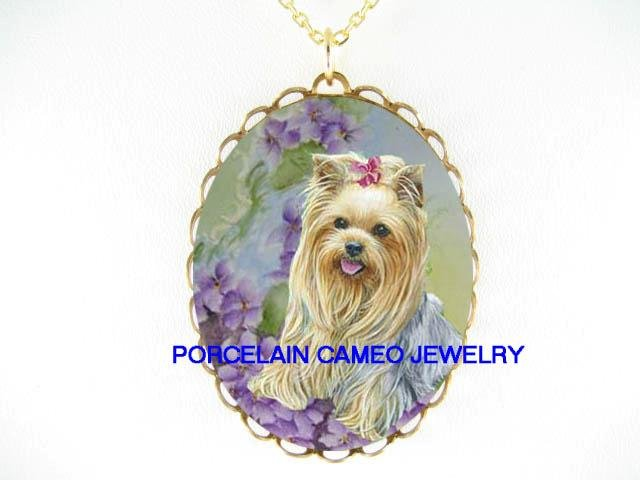 YORKSHIRE TERRIER DOG WITH AFRICAN VIOLET* CAMEO PORCELAIN NECKLACE