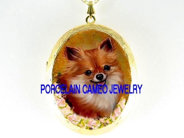 SMILING LONG HAIR CHIHUAHUA DOG WITH ROSE*  CAMEO PORCELAIN LOCKET