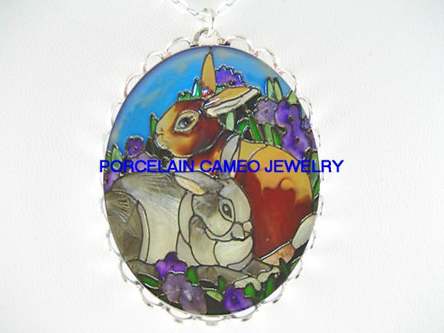 2 rabbit bunny with violet*  CAMEO PORCELAIN NECKLACE