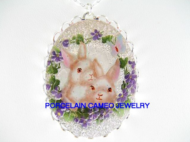 2 rabbit bunny with violet BUTTERFLY  CAMEO PORCELAIN NECKLACE