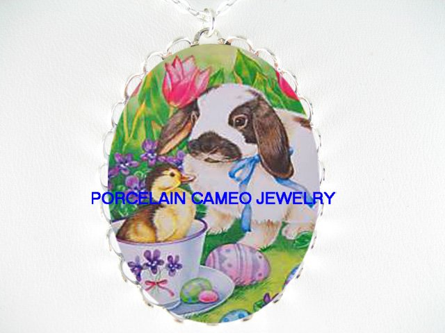 EASTER rabbit bunny DUCK TULIP*  CAMEO PORCELAIN NECKLACE