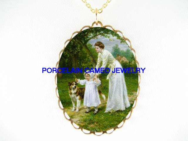 VICTORIAN MOTHER BABY SHELTIE DOG* CAMEO PORCELAIN NECKLACE