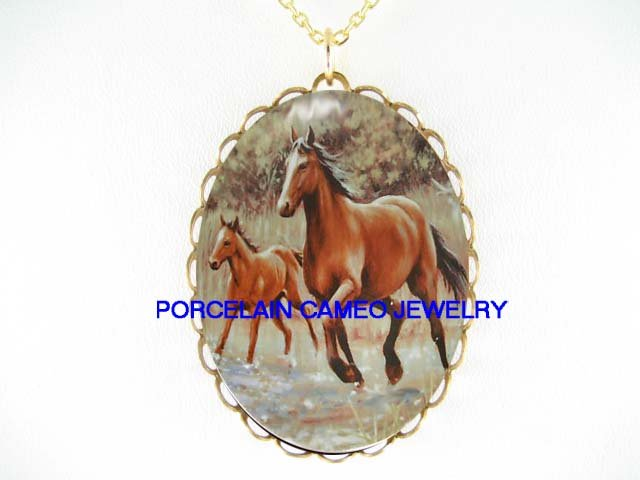2 MARE AND FOAL HORSE RUNNING CAMEO PORCELAIN NECKLACE