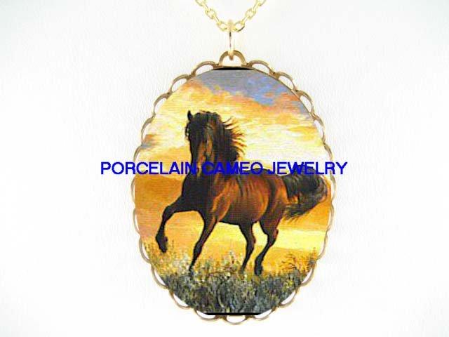 BROWN ARABIAN HORSE RUN SUNSET CAMEO PORCELAIN NECKLACE