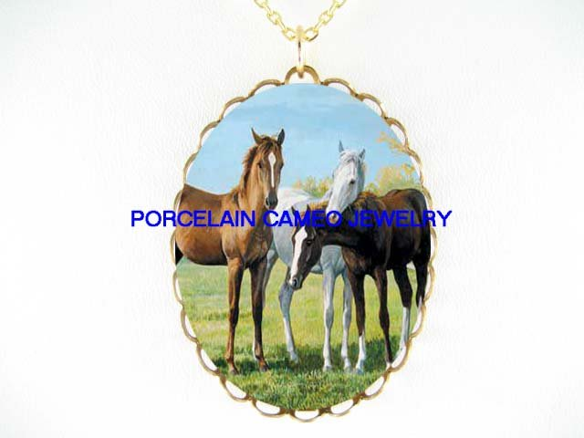 3 BROWN WHITE HORSE CUDDLING*CAMEO PORCELAIN NECKLACE