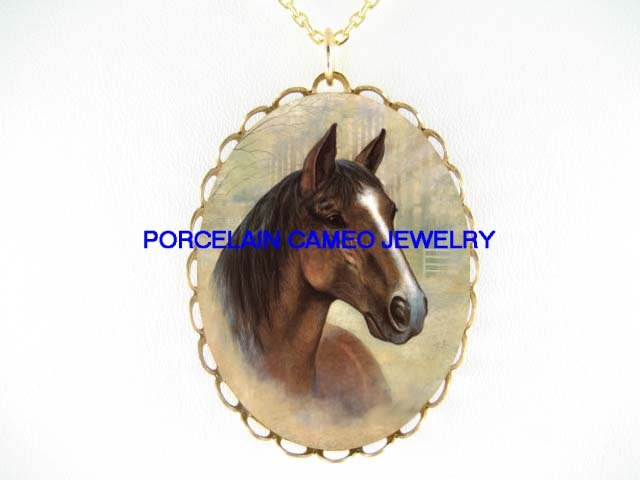 BROWN STALLION HORSE *CAMEO PORCELAIN NECKLACE