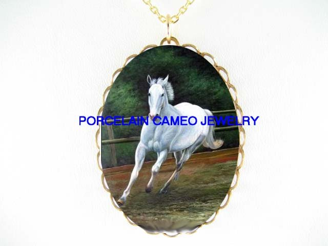 WHITE STALLION HORSE RUNNING*CAMEO PORCELAIN NECKLACE