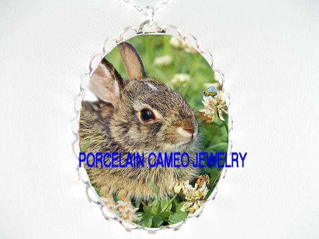 BUNNY RABBIT WITH BEE *  CAMEO PORCELAIN NECKLACE