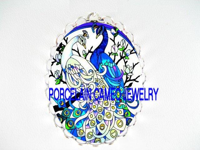 2 BLUE WHITE PEACOCK DOGWOOD POCELAIN CAMEO PIN PENDANT