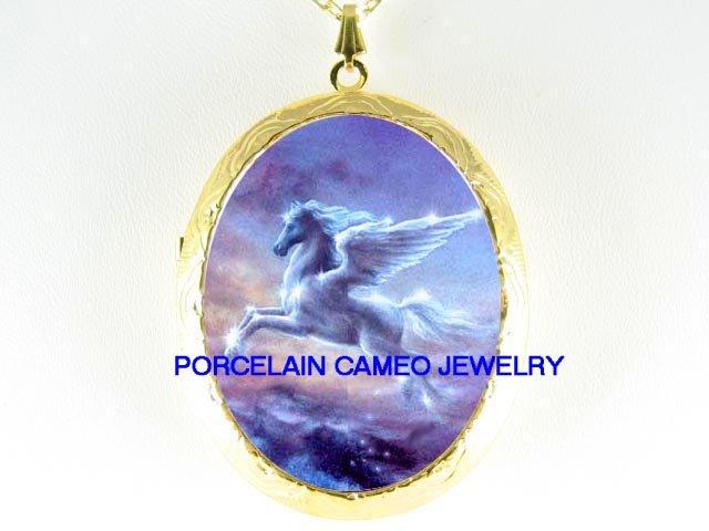 PEGASUS HORSE FLYING CAMEO PORCELAIN LOCKET NECKLACE