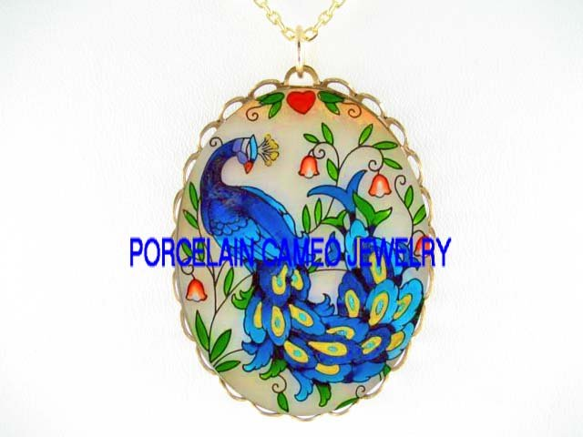 BLUE PEACOCK WITH LILY OF THE VALLEY *CAMEO PORCELAIN NECKLACE