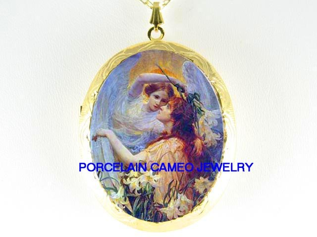 ANGEL MOTHER DAUGHTER CALLA LILY*  CAMEO PORCELAIN LOCKET NECKLACE