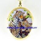 LEOPARD MOM CUDDLING  BABY CUB CAMEO PORCELAIN LOCKET NECKLACE