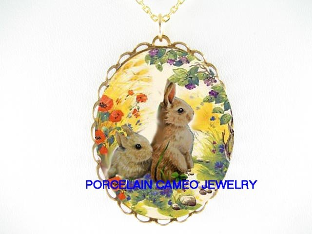 2 RABBIT BUNNY GRAPE VINE FIELD POPPY PORCELAI NECKLACE