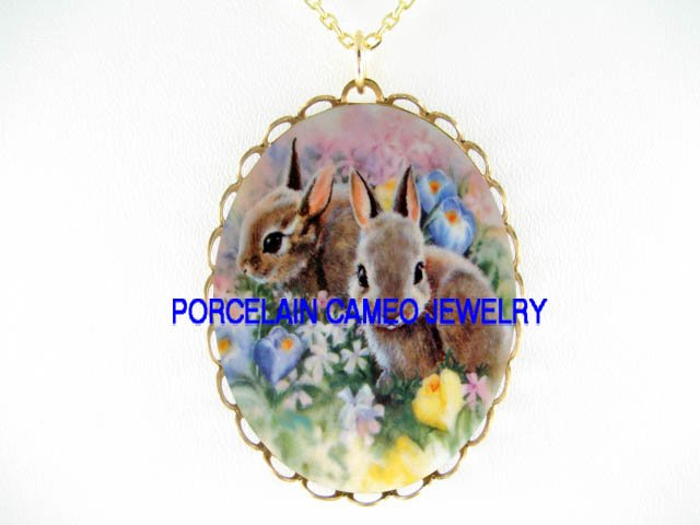 2 RABBIT BUNNY SUMMER FLOWER GARDEN CAMEO PORCELAIN NECKLACE