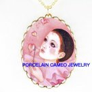 PIERROT MIME CLOWN BUBBLE HEART PORCELAIN CAMEO NECKLACE