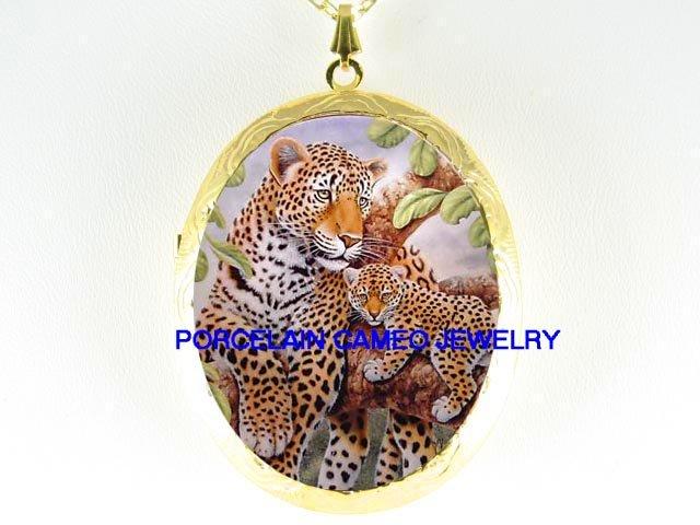 : 2 LEOPARD WILD CAT MOM BABY CUB CAMEO PORCELAIN LOCKET
