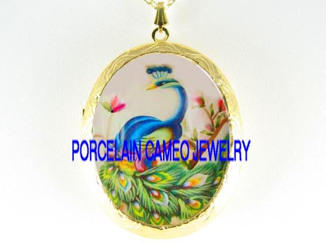 BLUE PEACOCK PINK FLOWER*  CAMEO PORCELAIN LOCKET NECKLACE