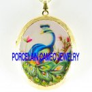 BLUE PEACOCK PINK FLOWER*  CAMEO PORCELAIN LOCKET NECKLACE