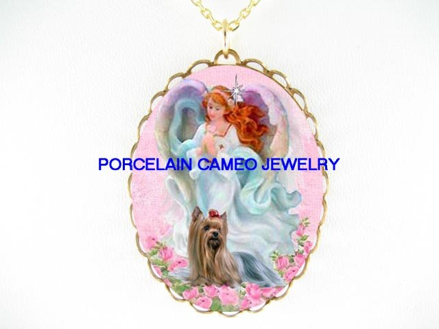 ANGEL YORKSHIRE TERRIER DOG ROSE CAMEO PORCELAIN NECKLACE