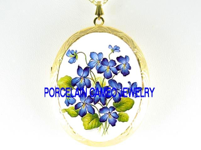 BLUE SPRING VIOLET FLOWER*  CAMEO PORCELAIN LOCKET NECKLACE