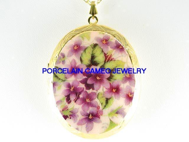 PINK SPRING VIOLET FLOWER*  CAMEO PORCELAIN LOCKET NECKLACE