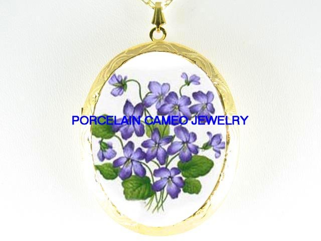PURPLE SPRING VIOLET FLOWER*  CAMEO PORCELAIN LOCKET NECKLACE