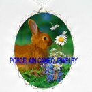 RABBIT BUNNY IN THE FIELD WITH DRAGONFLY *  CAMEO PORCELAIN NECKLACE