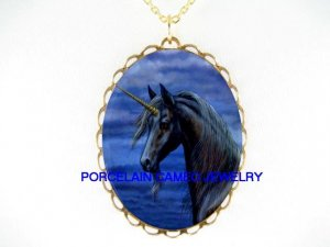 BLACK UNICORN HORSE CAMEO PORCELAIN PENDANT NECKLACE