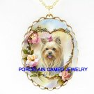 YORKSHIRE YORKIE DOG ROSE HEART*CAMEO PORCELAIN NECKLACE
