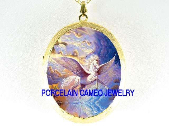 PEGASUS HORSE DREAM*  CAMEO PORCELAIN LOCKET NECKLACE