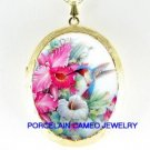 HUMMINGBIRD CALLA LILY ORCHID PORCELAIN LOCKET NECKLACE