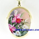 HUMMINGBIRD ORCHID CALLA LILY CAMEO PORCELAIN LOCKET NECKLACE