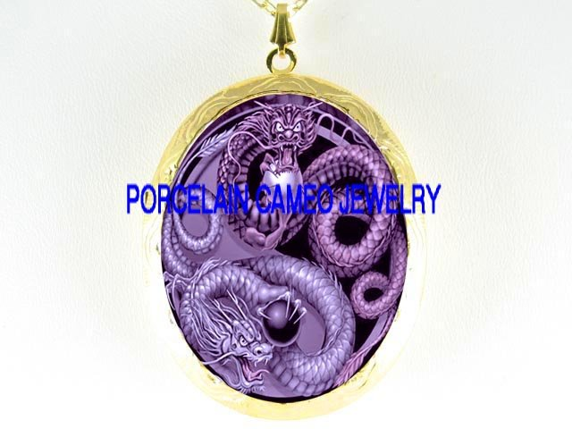 PURPLE DRAGON YIN YANG CAMEO PORCELAIN LOCKET NECKLACE