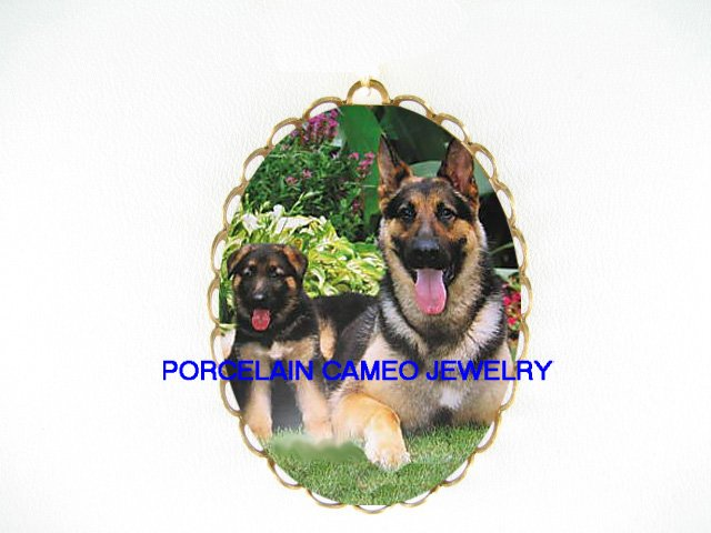 2 GERMAN SHEPHERD DOG MOM PUPPY*  CAMEO PORCELAIN PENDANT/PIN BROOCH