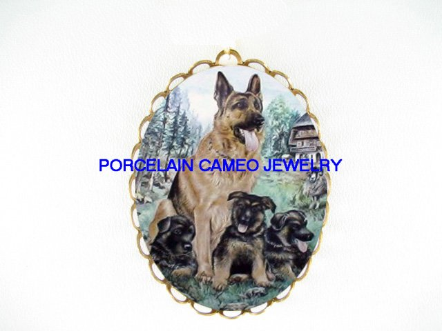 4 GERMAN SHEPHERD DOG MOM PUPPY*  CAMEO PORCELAIN PENDANT/PIN BROOCH
