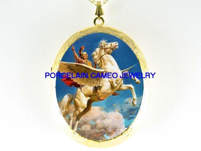 PEGASUS HORSE WARRIOR CAMEO PORCELAIN LOCKET