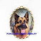 SMILING GERMAN SHEPHERD DOG  CAMEO PORCELAIN PENDANT/PIN BROOCH