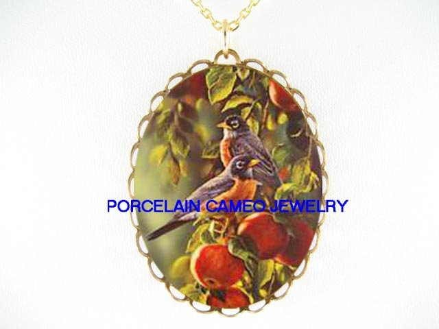 2 ROBIN BIRD APPLE TREE *CAMEO PORCELAIN NECKLACE