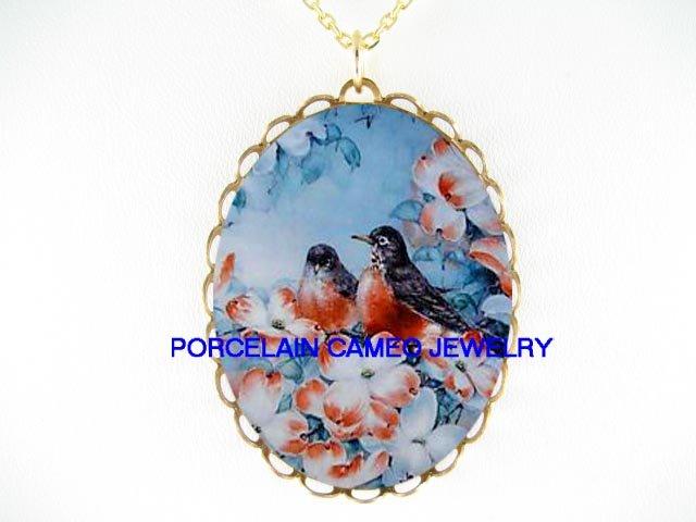 2 ROBIN BIRD DOGWOOD*CAMEO PORCELAIN NECKLACE